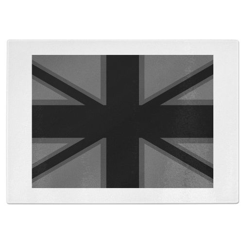 Dark Union Jack Tempered Glass Chopping Board - White